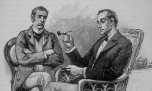 Sidney Paget's original 1891 illustration of Holmes and Watson.