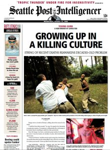 One of Rowe's articles on gang culture, on the front page of the Seattle Post-Intelligencer.
