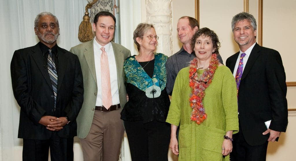 The authors for the 2011 Bedtime Stories event. From left to right: Charles Johnson, Jamie Ford, Heather McHugh, Jim Lynch, Stephanie Kallos and Garth Stein.