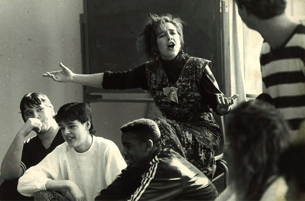 Actress Amy Terry performs at Redmond High School during the early days of Intiman's Living History Program.