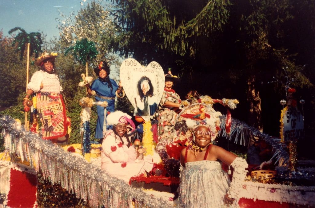 The Roslyn Black Pioneers with their 1993 parade float. The centerpiece honors Ethel Craven Florence, one of the founders of the Black Pioneers.